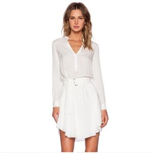 A.L.C Way White Silk Belted Long-Sleeved Dress 4